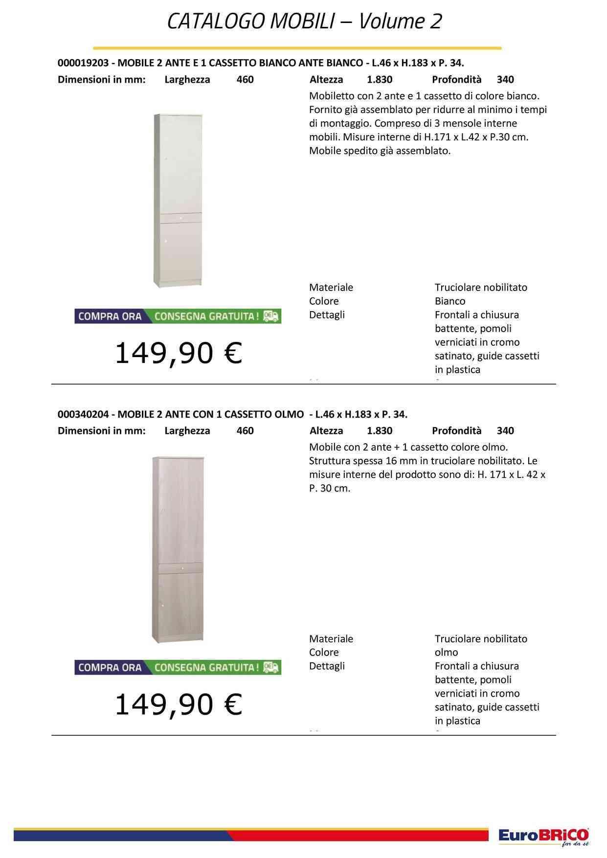 Bianco Esidra Armadio scarpiera a 2 Ante Legno 62 x 34 x 147 cm