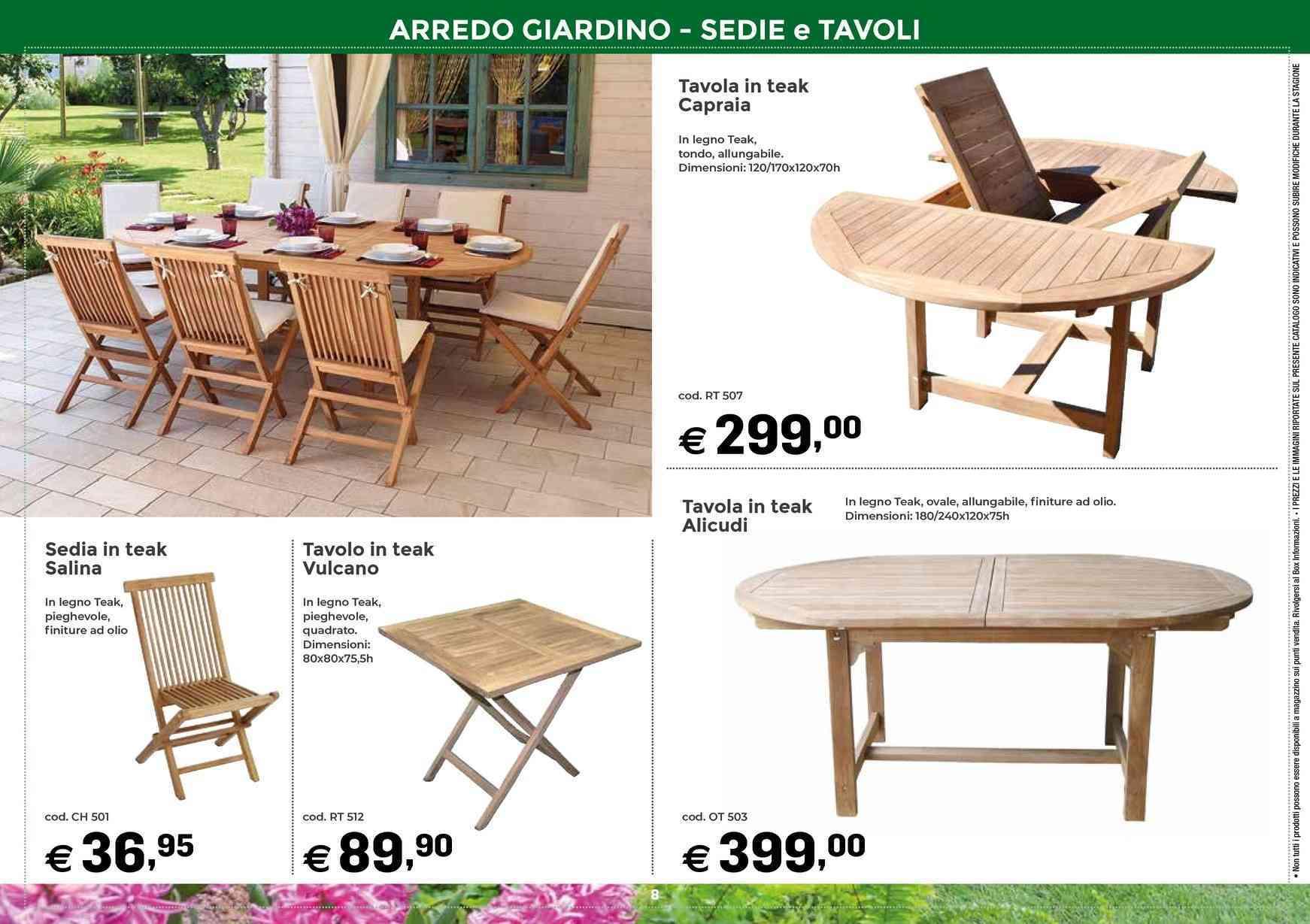 Offerte Tavoli da giardino nel volantino, prezzi negozio